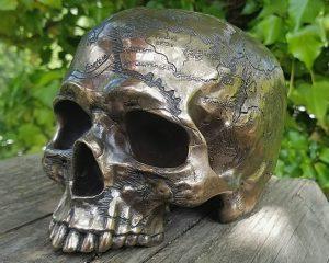 Bronze Skull, Bronze Human Skull, Gothic Decor, Antique Map Skull