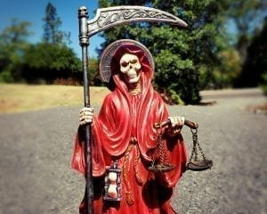 Large Red Santa Muerte Statue, Santa Muerte Altar, Grim Reaper