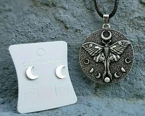 Moth Necklace, Witchcraft Jewelry, Wicca Jewelry