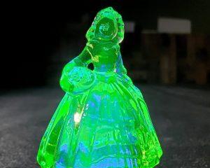 Uranium Glass Figurine, Uranium Glass,Haunted Doll, Radioactive Ghost