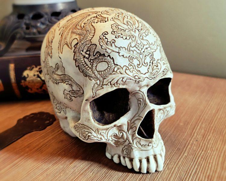 White Carved Skull, Gragon Skull, Gothic Decor