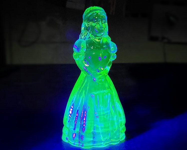 Uranium Glass Figurine, Vaseline Glass Figurine, Oddities, Curiosities
